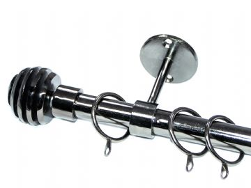 19mm Black Nickel Ceiling Curtain Pole with Sliced Ball Finials 1.2n 1.5m 2.4m 3m